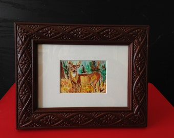 "Original Art, Watercolor ""White-tailed Buck"", custom framed miniature painting, Deer ACEO."