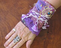 """Bohemian Wrist Cuff in Pink and Gold, Sparkles and Lace, One of a Kind Fabric Bracelet, """"Boho Bollywood""""  Unique Christmas Gift"""