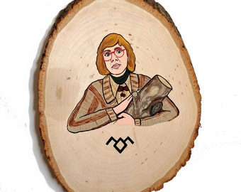 Log Lady Twin Peaks Wood Painting