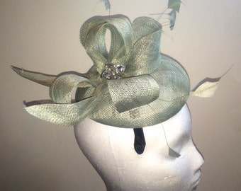 Mint Blue Fascinator Hat with Feathers and Crystal Embellishment