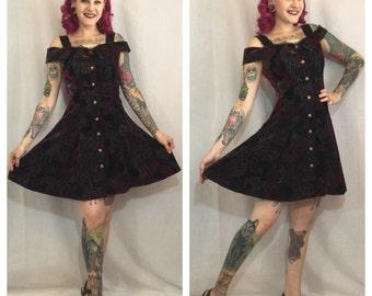 Vintage 1990's Dark Floral a Velvet Rampage Dress