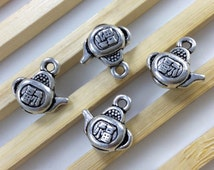 20 pcs  Double sided  Chinese Teapot Charms , Chinese Lucky , Teapot Pendants  13 mm x 13 mm