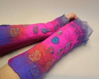 Felted Fingerless Gloves Nunofelt Fiber Art winter  Ready to ship