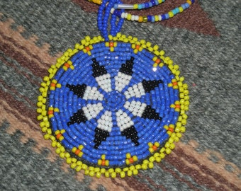 "Native American 2 1/2"" Hand Crafted Glass Bead Star/Sun Rosette Necklace"