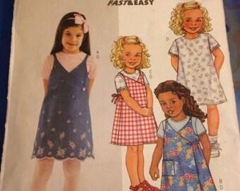 UNCUT 3890 Butterick Pattern Easy Girls Dress Clothes 2 3 4 5