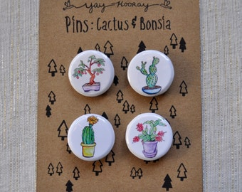 Cactus and Bonsia Plants, pin button badges, magnets hand drawn illustrations