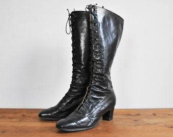 Antique Early 1900's Victorian/Edwardian Black Leather Lace Up Boots • Size 9.5 N