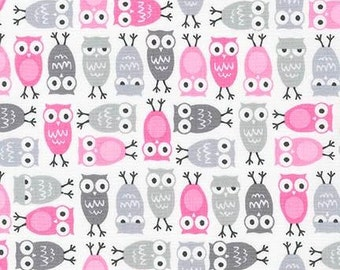 Mini Owl Fabric - Pink  and  Grey Mini Owls  Urban Zoologie by Ann Kelle from Robert Kaufman. AAK-15310-10 - Fat Quarter Only