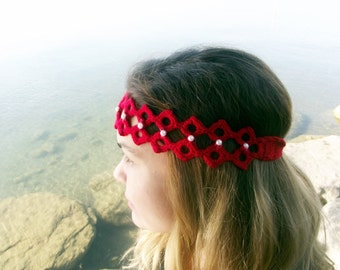 Lace Headband, Red Headband, Pearl Crochet Headband, Knit Headband, Crochet Head Wrap, Womens Headwrap, Hair accessory All Seosons