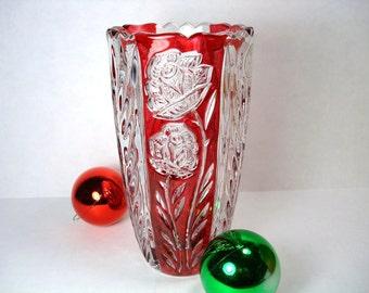 Vintage Crystal Vase - 24% Lead Crystal German Vase - Clear Crystal & Red Flash Vase
