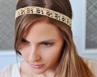 GOLD Rhinestone Bridal Headband , Gold Bridal Headpiece