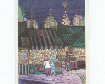Vintage Christmas Greeting Card 1964 about a Christmas market - P48