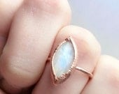 Marquise Moonstone Copper Ring | Electroformed Crystal Moonstone Ring | Natural Crystal Ring | Raw Crystal Ring | Gift for Girlfriend |