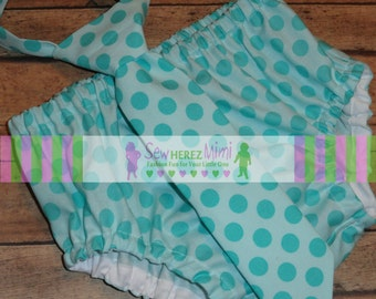 Dr Seuss Aqua Tonal Dot 1st Birthday Diaper Cover Necktie Cake Smash Set