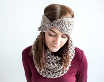 Crochet Pattern Headband Earwarmer Bow PDF: The Louisa Headband