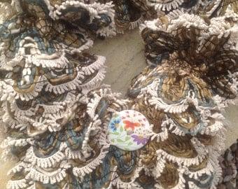 knitted  short scarf,ladies, beige, brown  with flower button, collar, scarflette, neckwarmer , necklet