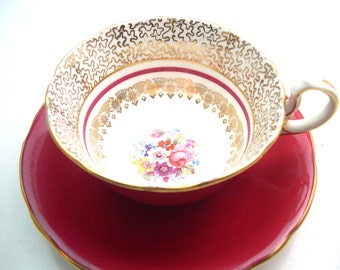 Antique  Red Aynsley  Tea cup and saucer set, Marroon red and gold tea cup set, Fine Bone China, Gold design on the white