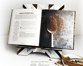 iPad Stand Large, Geometric Cookbook Stand, Wood Print iPad Mini Stand, Docking Stand Samsung, Smartphone Stand, Cookbook Stand T69