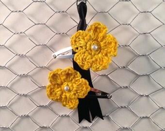 Crochet Flower Hair Clip Set Golden/Yellow