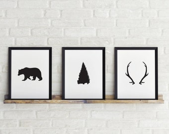 Set of 3 prints, Bear, Tree & Antlers Prints, Black and white print, Printable Art, 8 x 10 in, Scandinavian Print, Instant Download
