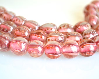 Water Melon Red Lampwork Glass Beads Round Shape Size Approx. 11-12mm Full Strands