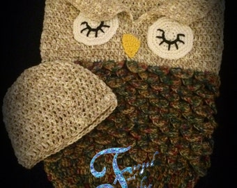 owl cocoon pattern, owl cocoon, infant cocoon, baby cocoon, photo prop, crochet pattern