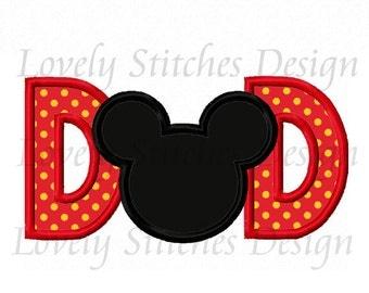 Mickey DAD Applique Machine Embroidery Design NO:0565