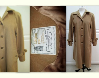 Vintage Ladies London Fog coat, London Fog classic tan, Ladies wool coat, ladies size 8 winter coat