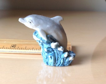 Miniature Dolphin Riding a Wave Vintage Collectible Porpoise Knicknack Flipper Sea World Ocean Sea Mammal Figurine Small Scale hand painted