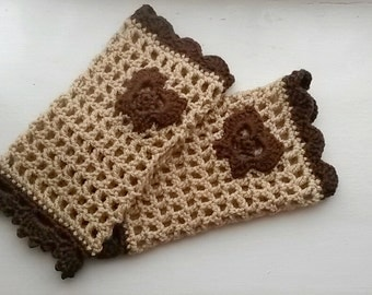 Crochet Fingerless Gloves, wrist warmer fingerless mittens, winter gloves fingerless arm warmers with brown butterfly