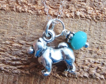 Chow Necklace- Glass Bead Sterling Silver Custom Necklace (Your Choice of Color and Initial)