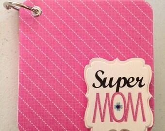 Super Mom mini photo album, 4x4 photo album, mini scrapbook, Super Mom brag book, Super Mom album, premade mini scrapbook, WK108