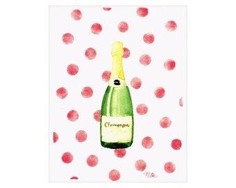 Champagne and Pink Polka Dots Watercolor Art Print