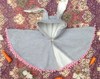 Grey Bunny fleece swing cape