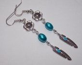 Blue Feather and Flower Dangle Earrings
