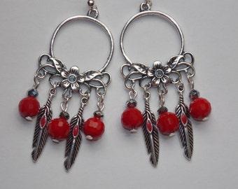 Red Feather Red Glass Flower Open Hoop Chandelier Earrings