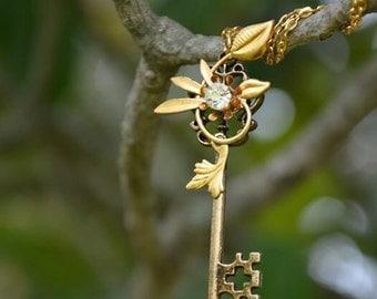 Clear Crystal swarovski gold Flower Key Necklace - Valentines Necklace - birthday present