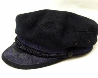 Vtg Authentic Greek Fishermans Cap Navy Blue Wool Hat Mens L 22 Preppy Costume Halloween