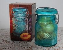 Vintage Avon Country Peaches Soap Jar, Blue Canning Jar, Bathroom Decor