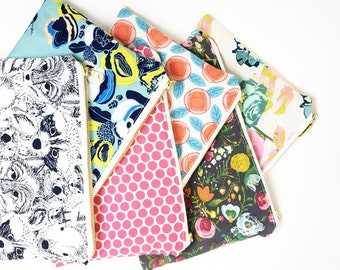 """9""""x6"""" WET BAG / cosmetic bag. You choose prints. Perfect to store toiletries on the go, cosmetics, or soiled reusables."""