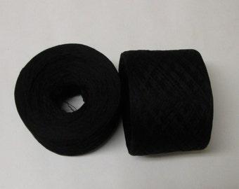BLACK 100% Silk 2696 yards recycled yarn