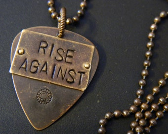 Rise Against Guitar Pick Pendant and Brass Ball Chain Necklace