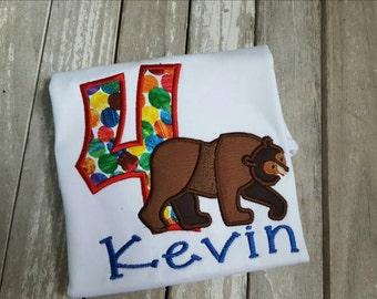 Brown Bear birthday shirt/brown bear/birthday/kids birthday