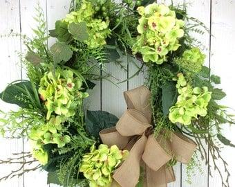 Hydrangea Wreath,Spring Wreath,Double Door Wreath,Mothers Day Wreath,green Hydrangea ,Front Door Wreath,Double Door Wreath,Everyday Wreath