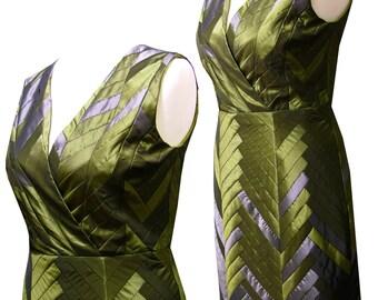 Yosegi ZEN tafetta shiftdress green grey patchwork Uique piece size Medium