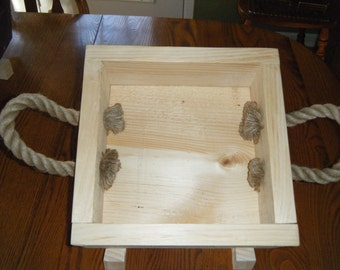 HANDMADE WOOD BOXES with Rope handles.  Great boxes for gift giving..can be used for home decor or you can use for organizing supplies