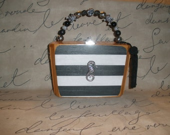 Fuente Best Seller Up Cycled Sea Horse Cigar Box Purse, Black and White Striped, New, Authentic, Tampa