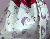 Hedgehogs, Snails, and Flowers bag with cotton fabric ties for knitting & craft projects (enormous)