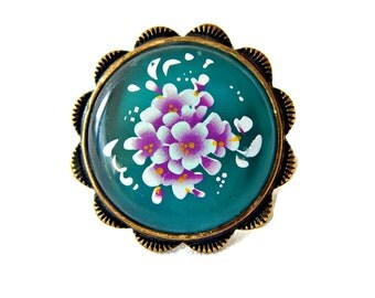 Lucite and Brass Ring Dark Turquoise Floral Transfer