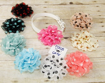 Polka Dot Eyelet Flower, Dog Collar Flower,  Flower, Collar Accessory, (Collar not included), Pet Collar Accessory, Focus for a Cause